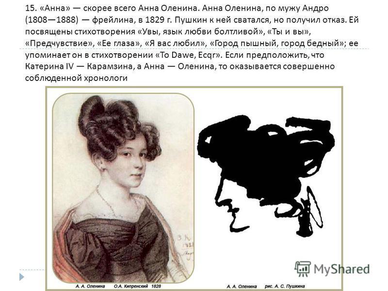 15. « Анна » скорее всего Анна Оленина. Анна Оленина, по мужу Андро (18081888) фрейлина, в 1829 г. Пушкин к ней сватался, но получил отказ. Ей посвящены стихотворения « Увы, язык любви болтливой », « Ты и вы », « Предчувствие », « Ее глаза », « Я вас