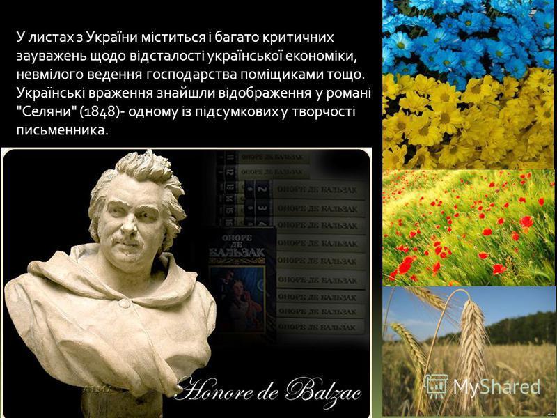 У листах з України міститься і багато критичних зауважень щодо відсталості української економіки, невмілого ведення господарства поміщиками тощо. Українські враження знайшли відображення у романі