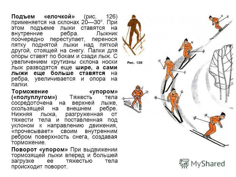 Подъем «елочкой» (рис. 126) применяется на склонах 2030°. При этом подъеме лыжи ставятся на внутренние ребра. Лыжник поочередно переступает, перенося пятку поднятой лыжи над пяткой другой, стоящей на снегу. Палки для опоры ставят по бокам и сзади лыж