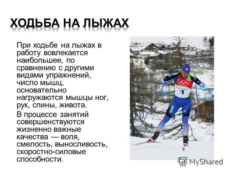 При ходьбе на лыжах в работу вовлекается наибольшее, по сравнению с другими видами упражнений, число мышц, основательно нагружаются мышцы ног, рук, спины, живота. В процессе занятий совершенствуются жизненно важные качества воля, смелость, выносливос
