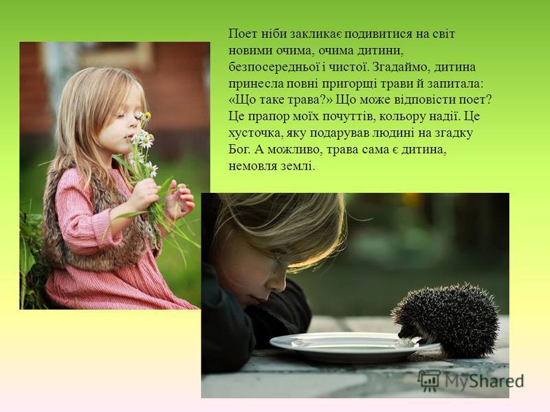 Поет ніби закликає подивитися на світ новими очима, очима дитини, безпосередньої і чистої. Згадаймо, дитина принесла повні пригорщі трави й запитала: «Що таке трава?» Що може відповісти поет? Це прапор моїх почуттів, кольору надії. Це хусточка, яку п