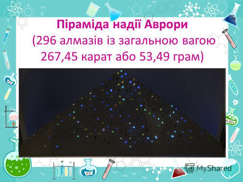 Піраміда надії Аврори (296 алмазів із загальною вагою 267,45 карат або 53,49 грам)