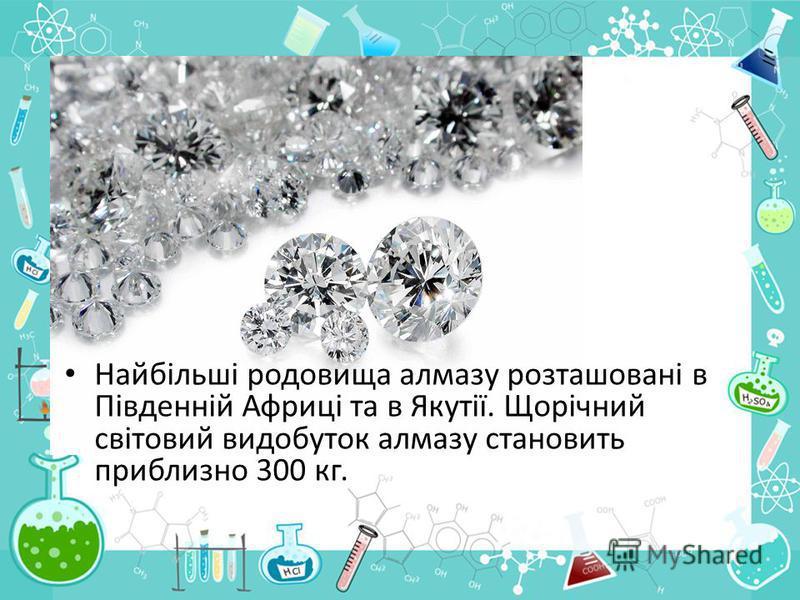 Найбільші родовища алмазу розташовані в Південній Африці та в Якутії. Щорічний світовий видобуток алмазу становить приблизно 300 кг.