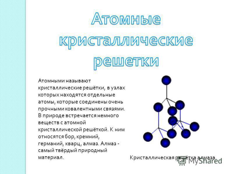 Атомными называют кристаллические решётки, в узлах которых находятся отдельные атомы, которые соединены очень прочными ковалентными связями. В природе встречается немного веществ с атомной кристаллической решёткой. К ним относятся бор, кремний, герма