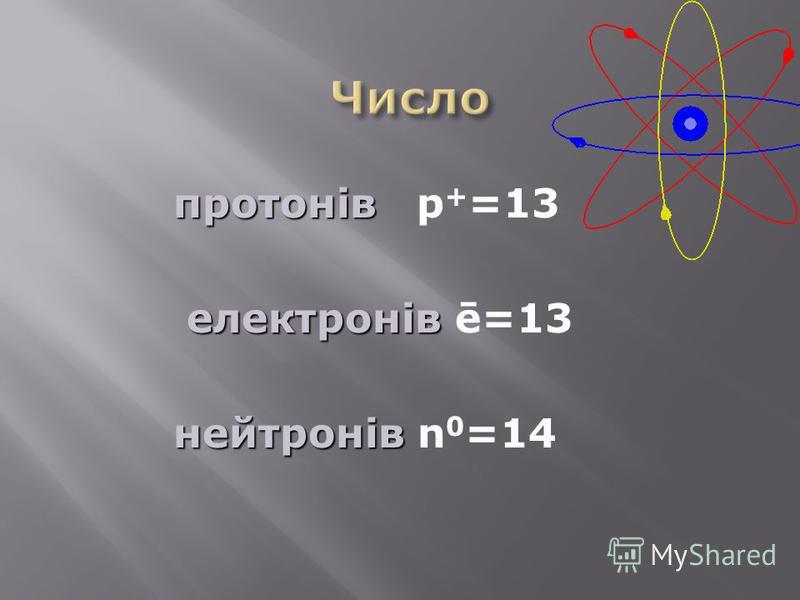 протонів протонів p + =13 електронів електронів ē=13 нейтронів нейтронів n 0 =14