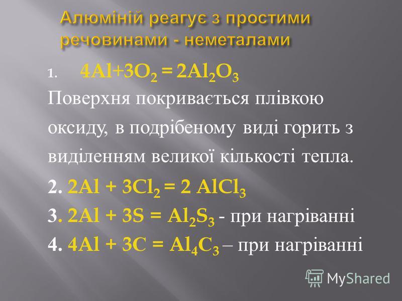 1. 4Al+3O 2 = 2Al 2 O 3 Поверхня покривається плівкою оксиду, в подрібеному виді горить з виділенням великої кількості тепла. 2. 2Al + 3Cl 2 = 2 AlCl 3 3. 2Al + 3S = Al 2 S 3 - при нагріванні 4. 4Al + 3 С = Al 4 С 3 – при нагріванні