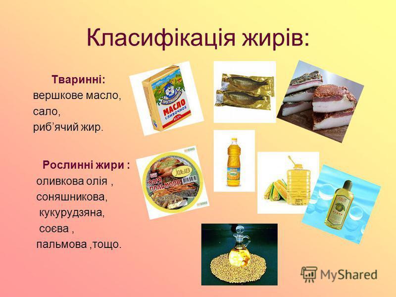Класифікація жирів: Тваринні: вершкове масло, сало, рибячий жир. Рослинні жири : оливковa олія, соняшникова, кукурудзяна, соєва, пальмова,тощо.