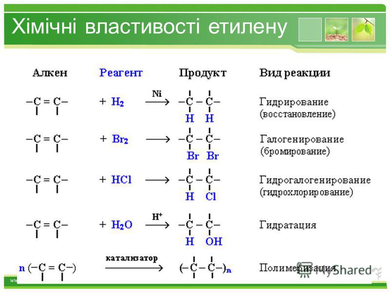 www.themegallery.com Хімічні властивості етилену 1.Горіння (з виділенням великої кількості теплоти): С 2 Н 4 + 3O 2 2СО 2 +2Н 2 О 2. Реакції приєднання по місцю розриву π - звязку: СН 2 = СН 2 а) гідрування - приєднання водню: С 2 Н 4 + Н 2 С 2 Н 6 б