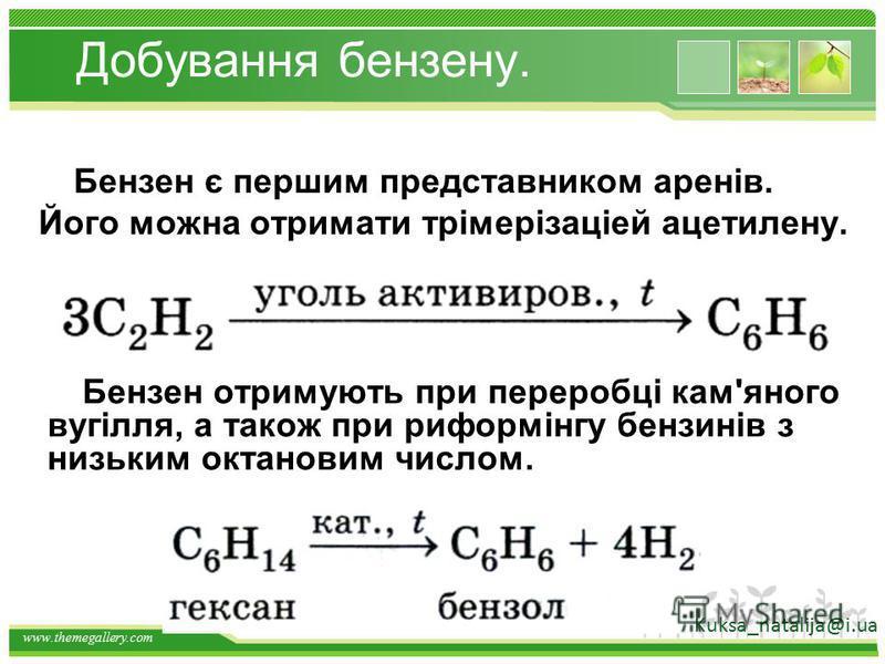 www.themegallery.com Добування вуглеводнів. АЛКЕНИ - H2 t, kat АЛКІНИ СnH 2 n + H2 t, kat СnH 2 n- 2 Kuksa_natalija@i.ua