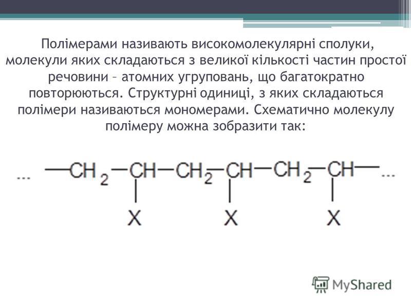 Полімерами називають високомолекулярні сполуки, молекули яких складаються з великої кількості частин простої речовини – атомних угруповань, що багатократно повторюються. Структурні одиниці, з яких складаються полімери називаються мономерами. Схематич