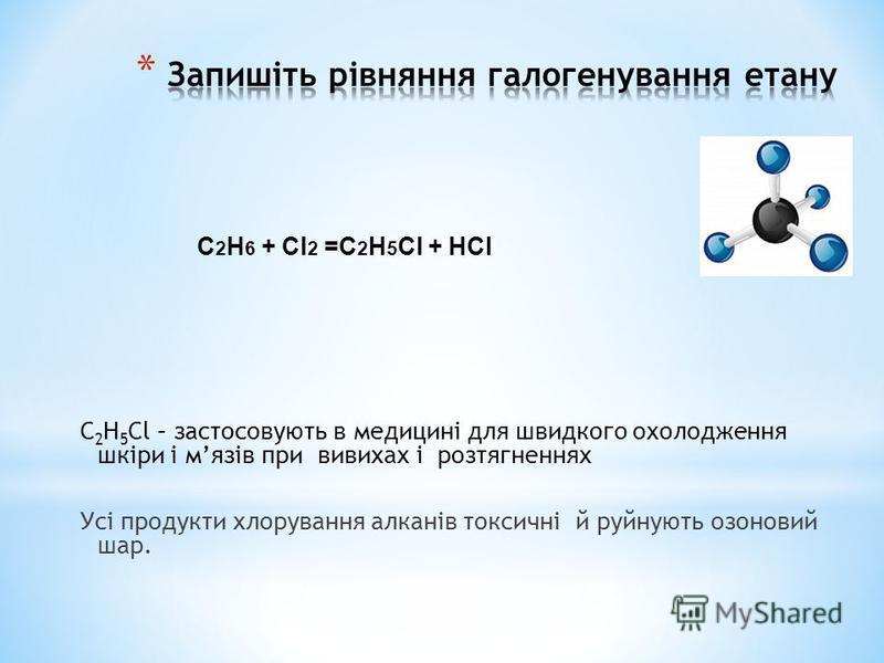 C 2 H 5 Cl – застосовують в медицині для швидкого охолодження шкіри і мязів при вивихах і розтягненнях Усі продукти хлорування алканів токсичні й руйнують озоновий шар. C 2 H 6 + Cl 2 =C 2 H 5 Cl + HCl