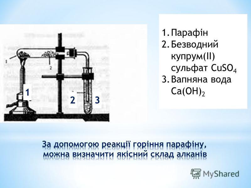 1.Парафін 2.Безводний купрум(ІІ) сульфат СuSO 4 3.Вапняна вода Ca(OH) 2 1 23