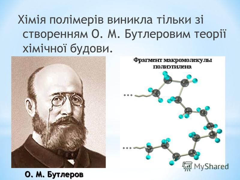 Хімія полімерів виникла тільки зі створенням О. М. Бутлеровим теорії хімічної будови. О. М. Бутлеров О. М. Бутлеров