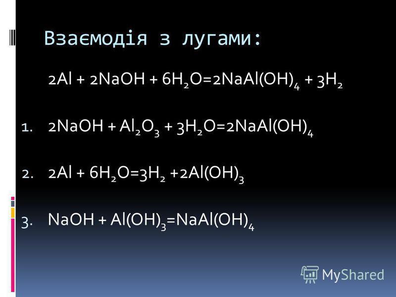 Взаємодія з лугами: 2Al + 2NaOH + 6H 2 O=2NaAl(OH) 4 + 3H 2 1. 2NaOH + Al 2 O 3 + 3H 2 O=2NaAl(OH) 4 2. 2Al + 6H 2 O=3H 2 +2Al(OH) 3 3. NaOH + Al(OH) 3 =NaAl(OH) 4