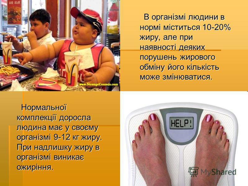 Нормальної комплекції доросла людина має у своєму організмі 9-12 кг жиру. При надлишку жиру в організмі виникає ожиріння. Нормальної комплекції доросла людина має у своєму організмі 9-12 кг жиру. При надлишку жиру в організмі виникає ожиріння. В орга
