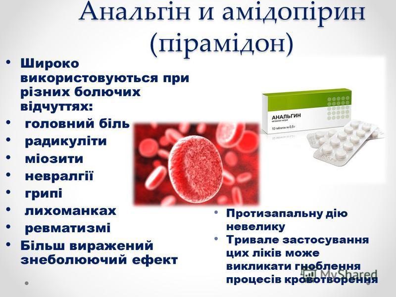 Анальгін и амідопірин (пірамідон) Широко використовуються при різних болючих відчуттях: головний біль радикуліти міозити невралгії грипі лихоманках ревматизмі Більш виражений знеболюючий ефект Протизапальну дію невелику Тривале застосування цих ліків