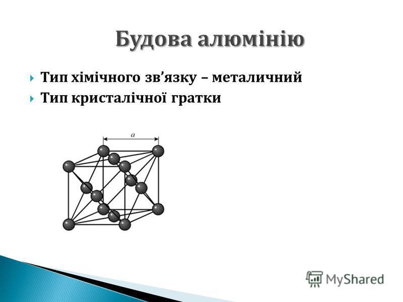 Тип хімічного звязку – металичний Тип кристалічної гратки