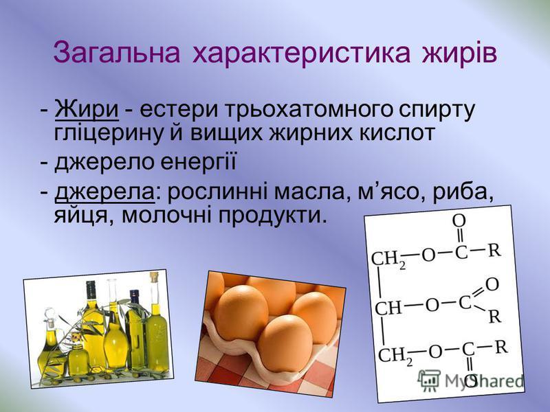 Загальна характеристика жирів - Жири - естери трьохатомного спирту гліцерину й вищих жирних кислот - джерело енергії - джерела: рослинні масла, мясо, риба, яйця, молочні продукти.