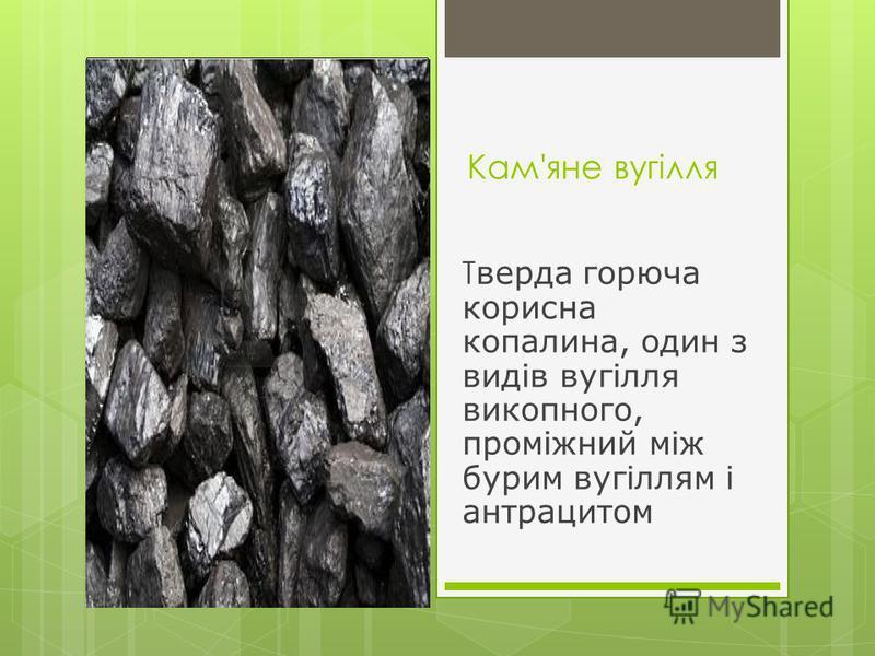 Кам'яне вугілля Тверда горюча корисна копалина, один з видів вугілля викопного, проміжний між бурим вугіллям і антрацитом