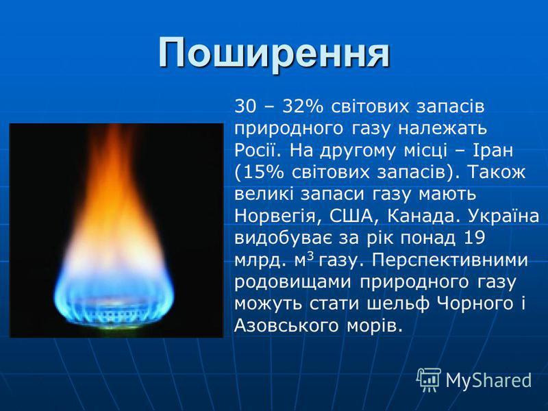 Поширення 30 – 32% світових запасів природного газу належать Росії. На другому місці – Іран (15% світових запасів). Також великі запаси газу мають Норвегія, США, Канада. Україна видобуває за рік понад 19 млрд. м 3 газу. Перспективними родовищами прир