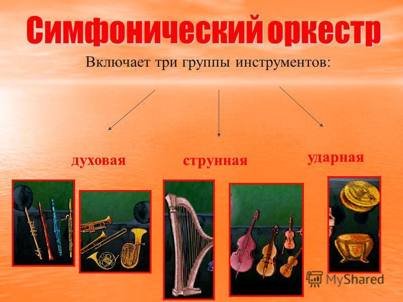 Включает три группы инструментов: духовая струнная ударная