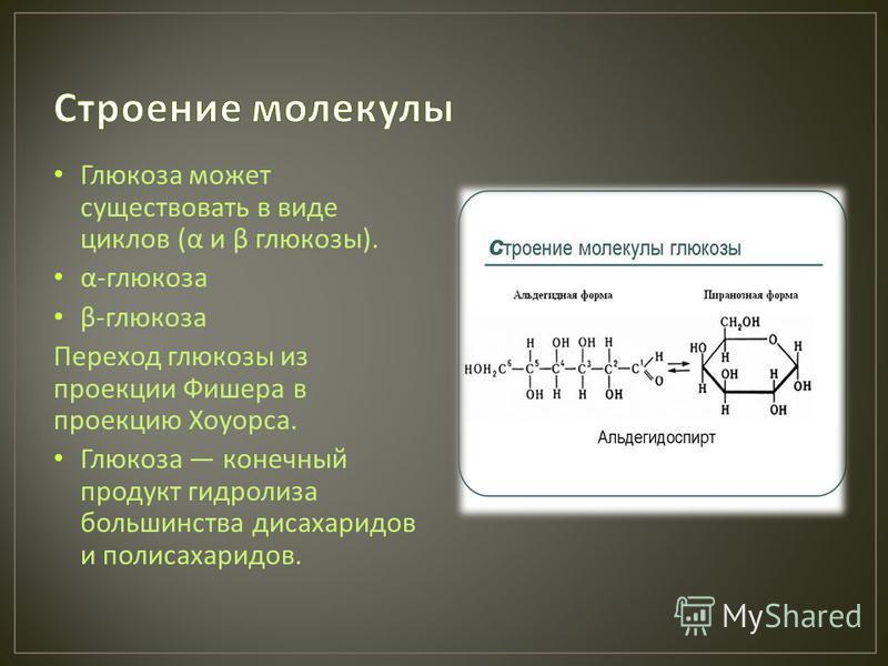 Глюкоза может существовать в виде циклов ( α и β глюкозы ). α - глюкоза β - глюкоза Переход глюкозы из проекции Фишера в проекцию Хоуорса. Глюкоза конечный продукт гидролиза большинства досахаридов и полисахаридов.