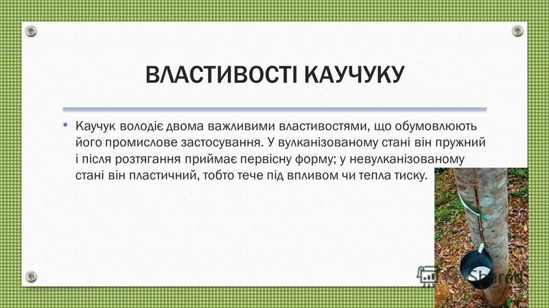ДЖЕРЕЛА НАТУРАЛЬНОГО КАУЧУКУ Сирий натуральний каучук буває двох видів: 1) дикий каучук, що добувається з дерев, що виростають у природних умовах, кущів і лози; 2) плантаційний каучук, що добувається з оброблюваних людиною дерев і інших рослин. Протя
