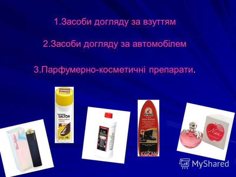 1.Засоби догляду за взуттям 2.Засоби догляду за автомобілем 3.Парфумерно-косметичні препарати.