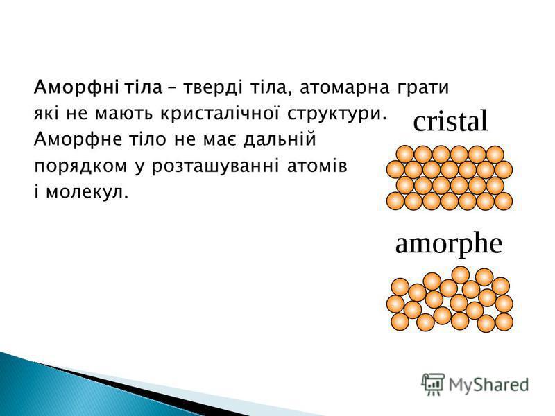 Аморфні тіла – тверді тіла, атомарна грати які не мають кристалічної структури. Аморфне тіло не має дальній порядком у розташуванні атомів і молекул.