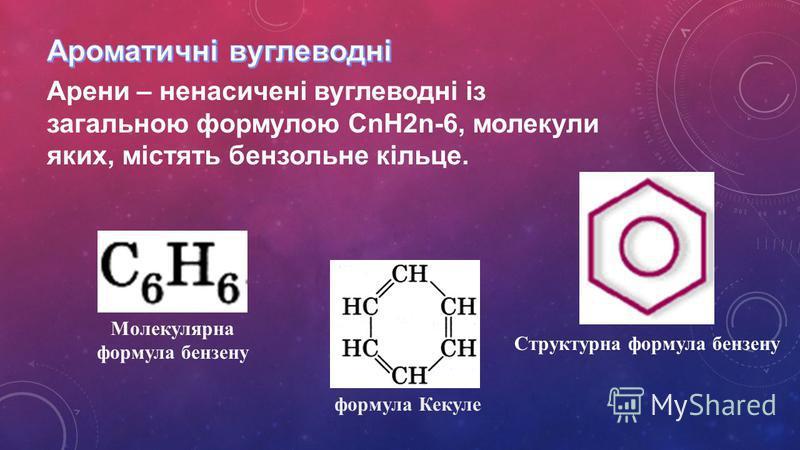 Структурна формула бензену Арени – ненасичені вуглеводні із загальною формулою CnH2n-6, молекули яких, містять бензольне кільце. Молекулярна формула бензену формула Кекуле
