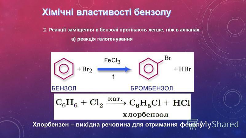 2. Реакції заміщення в бензолі протікають легше, ніж в алканах. а) реакція галогенування Хлорбензен – вихідна речовина для отримання фенолу.
