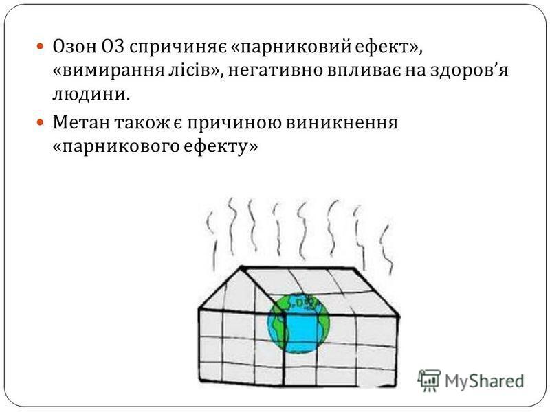 Озон О 3 спричиняє « парниковий ефект », « вимирання лісів », негативно впливає на здоров я людини. Метан також є причиною виникнення « парникового ефекту »