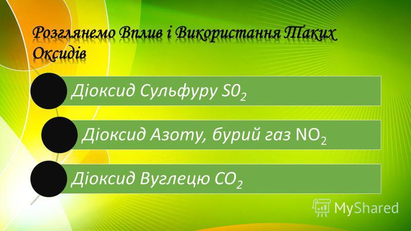 Діоксид Сульфуру S02 Діоксид Азоту, бурий газ NO2 Діоксид Вуглецю CO2