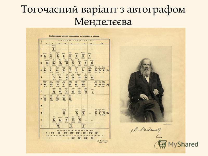 Тогочасний варіант з автографом Менделєєва