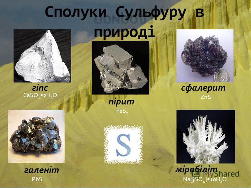 мірабіліт пірит галеніт гіпссфалерит CaSO 4 2H 2 O. FeS 2 ZnS PbSNa 2 [SO 4 ]10H 2 O