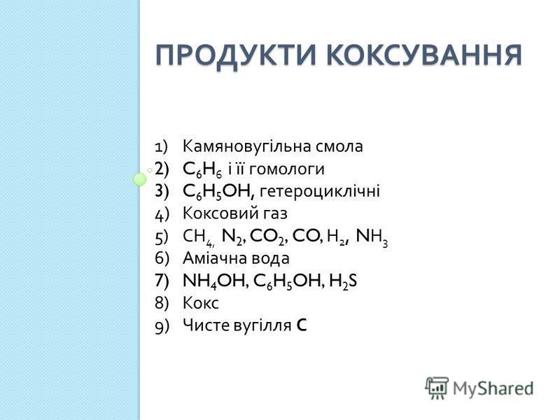 ПРОДУКТИ КОКСУВАННЯ 1)Камяновугільна смола 2)C 6 H 6 і її гомологи 3)C 6 H 5 OH, гетероциклічні 4)Коксовий газ 5)СН 4, N 2, CO 2, CO, Н 2, N Н 3 6)Аміачна вода 7)NH 4 OH, C 6 H 5 OH, H 2 S 8)Кокс 9)Чисте вугілля С