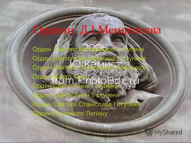 Ордени Д.І.Менделєєва Орден Святого Володимира I ступеня Орден Святого Володимира II ступеня Орден Святого Олександра Невського Орден Білого Орла Орден Святої Анни I ступеня Орден Святої Анни II ступеня Орден Святого Станіслава I ступеня Орден Почесн