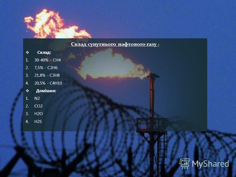 Склад супутнього нафтового газу : Склад: 1.30-40% - СН4 2.7,5% - C2H6 3.21,8% - C3H8 4.20,5% - C4H10 Домішки: 1.N2 2.CO2 3.H2O 4.H2S