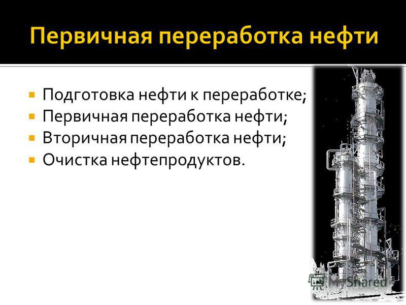 Подготовка нефти к переработке; Первичная переработка нефти; Вторичная переработка нефти; Очистка нефтепродуктов.