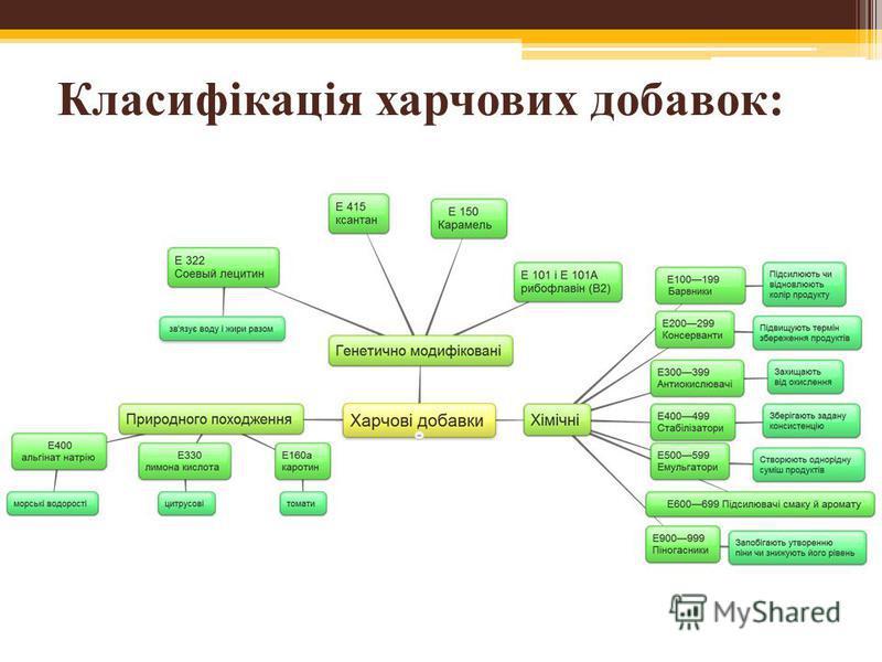 Класифікація харчових добавок: