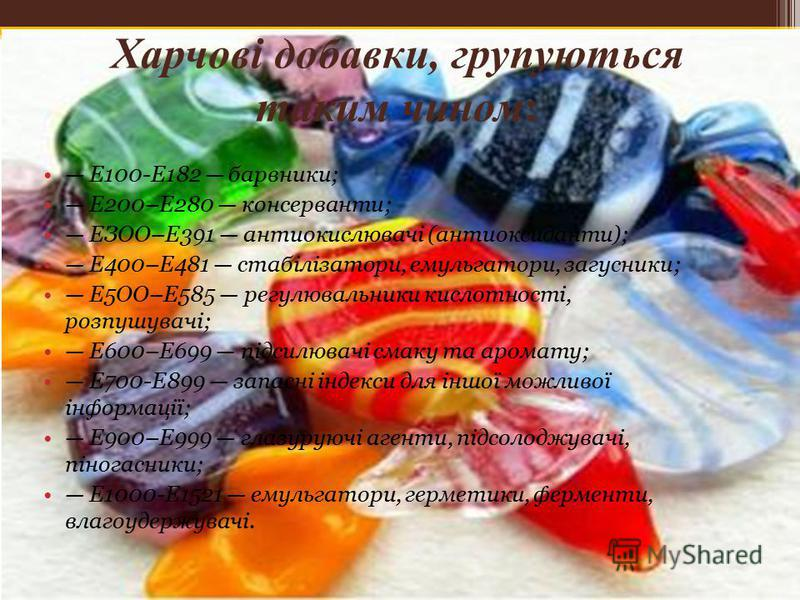 Харчові добавки, групуються таким чином: Е100-Е182 барвники; Е200–Е280 консерванти; ЕЗОО–Е391 антиокислювачі (антиоксиданти); Е400–Е481 стабілізатори, емульгатори, загусники; Е5ОО–Е585 регулювальники кислотності, розпушувачі; Е600–Е699 підсилювачі см