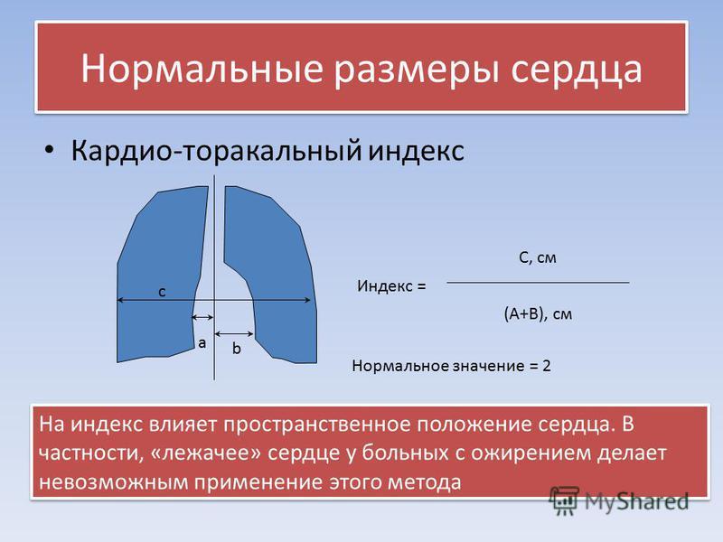 Нормальные размеры сердца Кардио-торакальный индекс a b c Индекс = С, см (A+B), см Нормальное значение = 2 На индекс влияет пространственное положение сердца. В частности, «лежачее» сердце у больных с ожирением делает невозможным применение этого мет