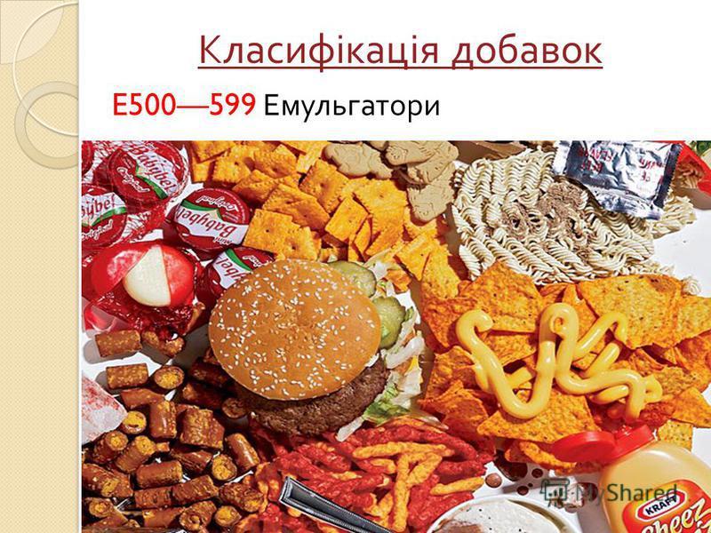 Класифікація добавок E500599 Емульгатори