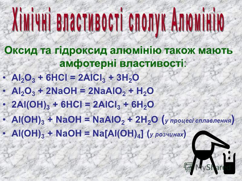А люміній є а мфотерним е лементом : в заємодіє с к ислотами т а л угами. 2Al + 6HCl( розбавлена ) = 2AlCl 3 + 3H 2 8Al + 15H 2 SO 4 ( конц. ) 4Al 2 (SO 4 ) 3 + 3H 2 S + 12H 2 O Al + 6HNO 3 ( конц. ) Al(NO 3 ) 3 + 3NO 2 + 3H 2 O 2Al + 6NaOH 2Na 3 AlO