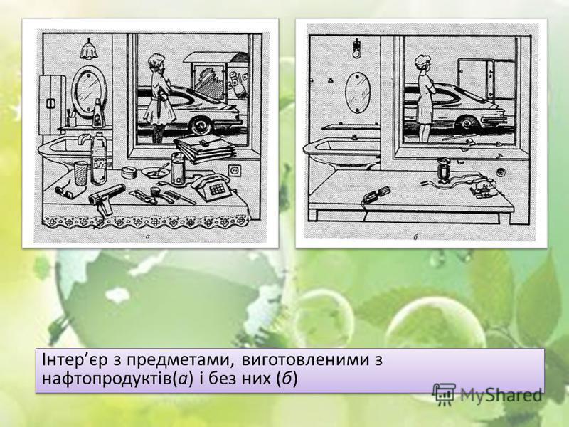 Інтерєр з предметами, виготовленими з нафтопродуктів(а) і без них (б)