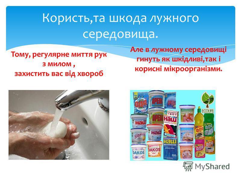 Користь,та шкода лужного середовища. Тому, регулярне миття рук з милом, захистить вас від хвороб Але в лужному середовищі гинуть як шкідливі,так і корисні мікроорганізми.