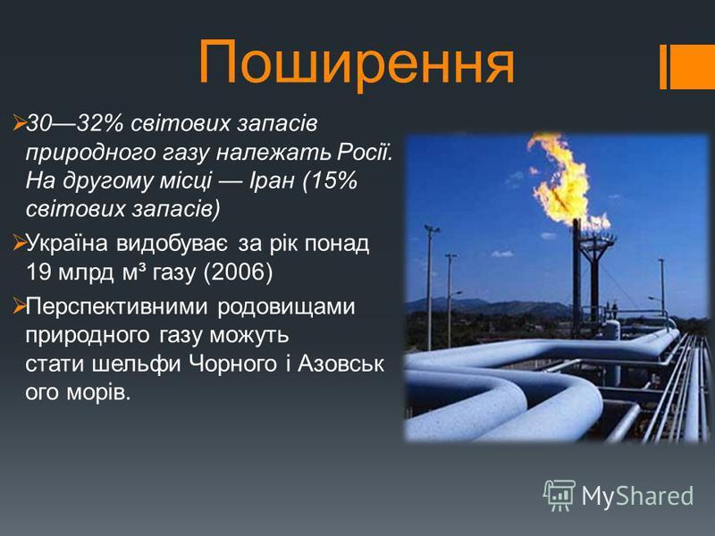 Поширення 3032% світових запасів природного газу належать Росії. На другому місці Іран (15% світових запасів) Україна видобуває за рік понад 19 млрд м³ газу (2006) Перспективними родовищами природного газу можуть стати шельфи Чорного і Азовськ ого мо