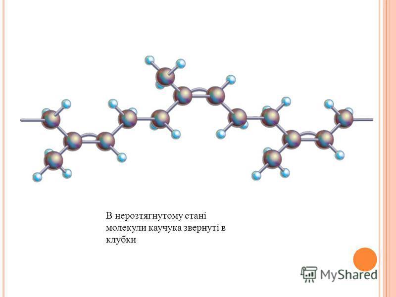 В нерозтягнутому стані молекули каучука звернуті в клубки
