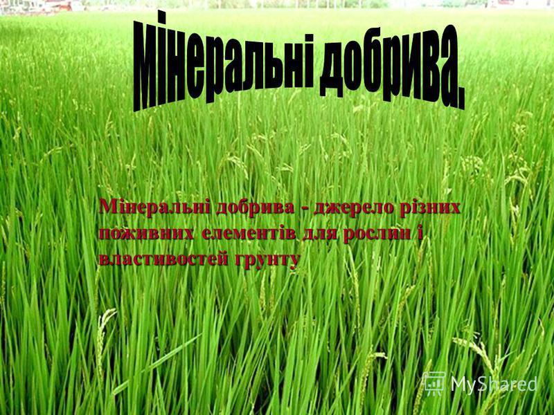 Мінеральні добрива - джерело різних поживних елементів для рослин і властивостей грунту