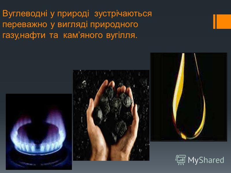 Вуглеводні у природі зустрічаються переважно у вигляді природного газу,нафти та камяного вугілля.